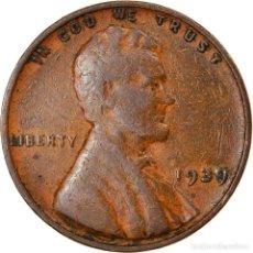 Monedas antiguas de América: MONEDA, ESTADOS UNIDOS, LINCOLN CENT, CENT, 1939, U.S. MINT, PHILADELPHIA, BC+. Lote 262730585