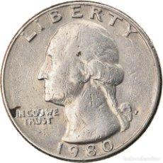 Monedas antiguas de América: MONEDA, ESTADOS UNIDOS, WASHINGTON QUARTER, QUARTER, 1980, U.S. MINT. Lote 262730715