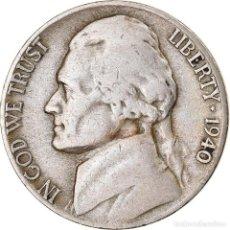 Monedas antiguas de América: MONEDA, ESTADOS UNIDOS, JEFFERSON NICKEL, 5 CENTS, 1940, U.S. MINT, DENVER, BC+. Lote 262730785