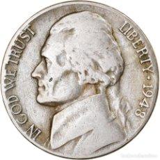 Monedas antiguas de América: MONEDA, ESTADOS UNIDOS, JEFFERSON NICKEL, 5 CENTS, 1948, U.S. MINT. Lote 262731130