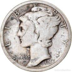 Monedas antiguas de América: MONEDA, ESTADOS UNIDOS, MERCURY DIME, DIME, 1917, U.S. MINT, PHILADELPHIA, MBC. Lote 262732265