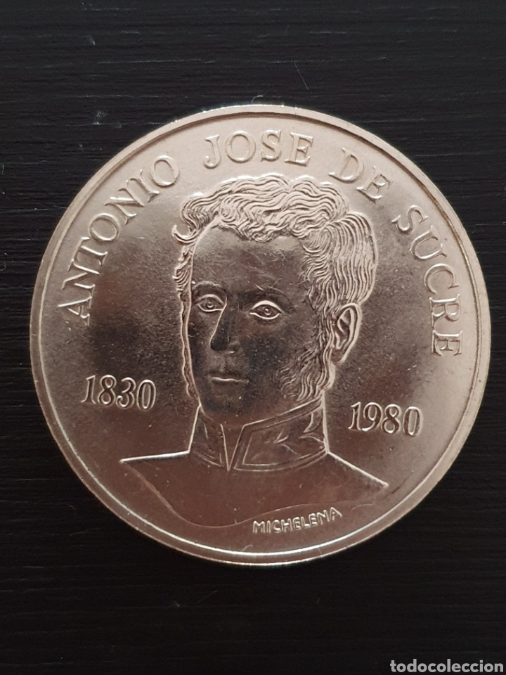 MONEDA CONMERATIVA DE LA MUERTE DE SUCRE. (Numismática - Extranjeras - América)