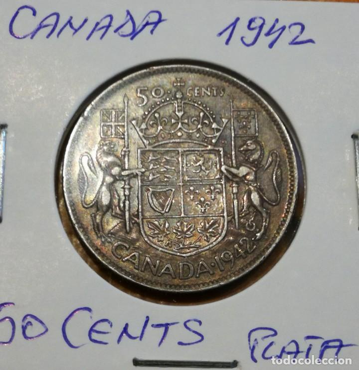 MONEDA DE 50 CENTS DE PLATA CANADA 1942 BELLA PATINA!! (Numismática - Extranjeras - América)