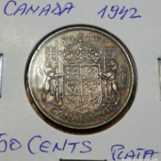 Monedas antiguas de América: MONEDA DE 50 CENTS DE PLATA CANADA 1942 BELLA PATINA!!. Lote 263970985
