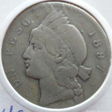 Monnaies anciennes d'Amérique: REPÚBLICA DOMINICANA 1 PESO DE PLATA 1897. Lote 264246544