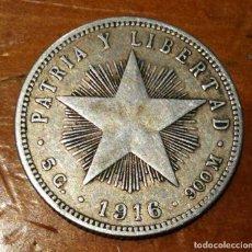 Monedas antiguas de América: VEINTE CENTAVOS DE PLATA CUBA MUY ANTIGUOS . AÑO DE 1916 . BELLA PATINA. Lote 264549964