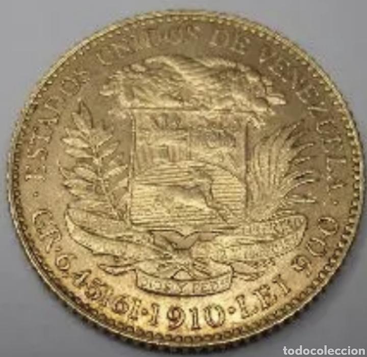 Monedas antiguas de América: 20 bolivares 1910. Oro 6,45 gramos. - Foto 2 - 265511114