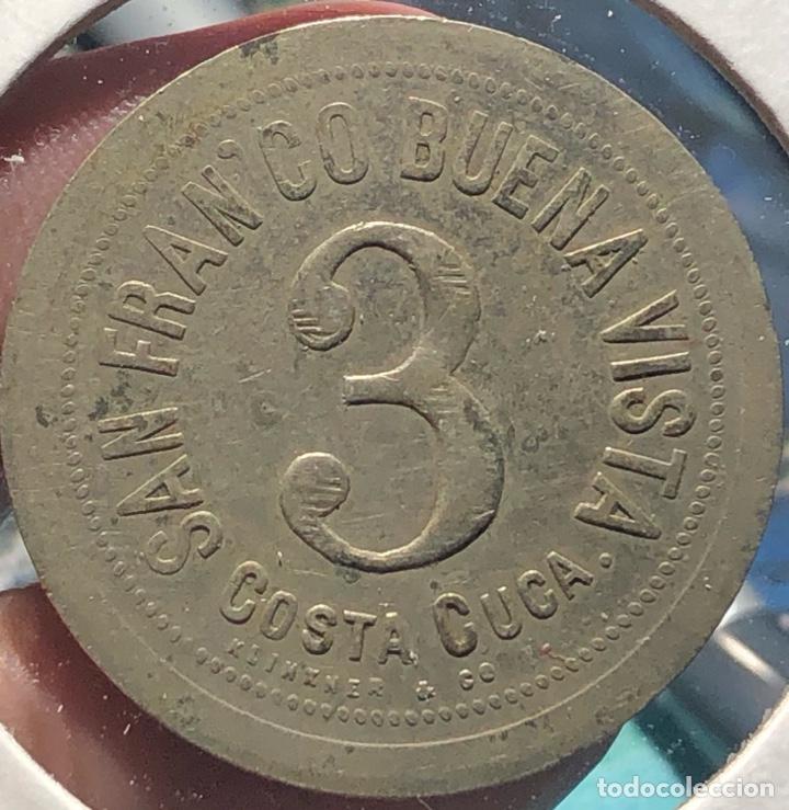 Monedas antiguas de América: Guatemala Ficha de Finca 3 Reales Francisco Buena Vista Arsenio Suárez - Foto 2 - 268476359