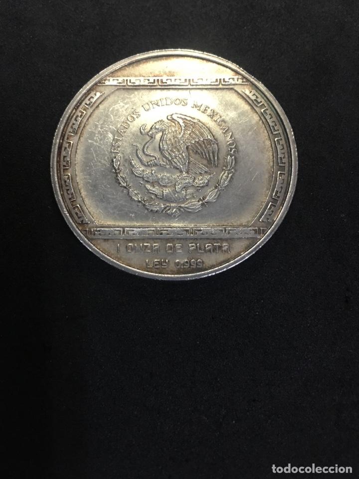 Monedas antiguas de América: Mexico 5 pesos Precolombina series Palma Con Cocodrilo silver coin 1993 - Foto 2 - 268715969
