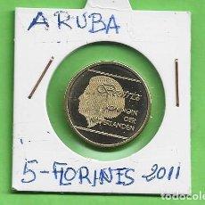 Monedas antiguas de América: ARUBA. 5 FLORINES 2011. BRONCE CON ALUMINIO. KM#38. Lote 268856944