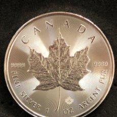 Monnaies anciennes d'Amérique: ONZA MONEDA LINGOTE DE PLATA PURA- HOJA-CANADÁ-2021. Lote 269156543