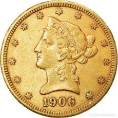 Monedas antiguas de América: [#890857] MONEDA, ESTADOS UNIDOS, CORONET HEAD, $10, EAGLE, 1906, DENVER, MBC+, ORO. Lote 269180178