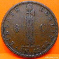 Monedas antiguas de América: HAITI, 6 CENT, 1846. AÑO 43 (1248). Lote 269350028