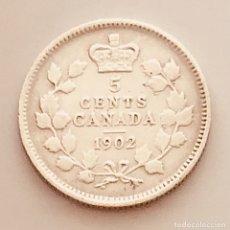 Monedas antiguas de América: 5 CENTS DOLLAR PLATA CANADÁ 1902 IMPERIO BRITÁNICO. Lote 269695798