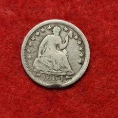 Monedas antiguas de América: MONEDA PLATA USA ESTADOS UNIDOS HALF DIME 1854 ORIGINAL C3. Lote 270621193