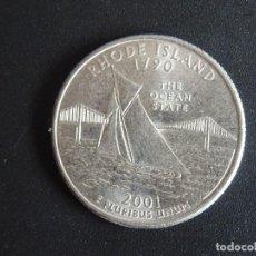 Moedas antigas da América: USA ESTADOS UNIDOS DE AMÉRICA 25 CENTAVOS QUARTER 2001 P RHODE ISLAND. Lote 274335313