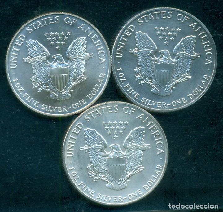 ESTADOS UNIDOS - LOTE 3 PIEZAS 1 DOLAR / 1 ONZA DE PLATA PURA 999 MILESIMAS . 1991 + 1992 + 1995.SC (Numismática - Extranjeras - América)