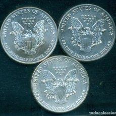 Monedas antiguas de América: ESTADOS UNIDOS - LOTE 3 PIEZAS 1 DOLAR / 1 ONZA DE PLATA PURA 999 MILESIMAS . 1991 + 1992 + 1995.SC. Lote 275282678