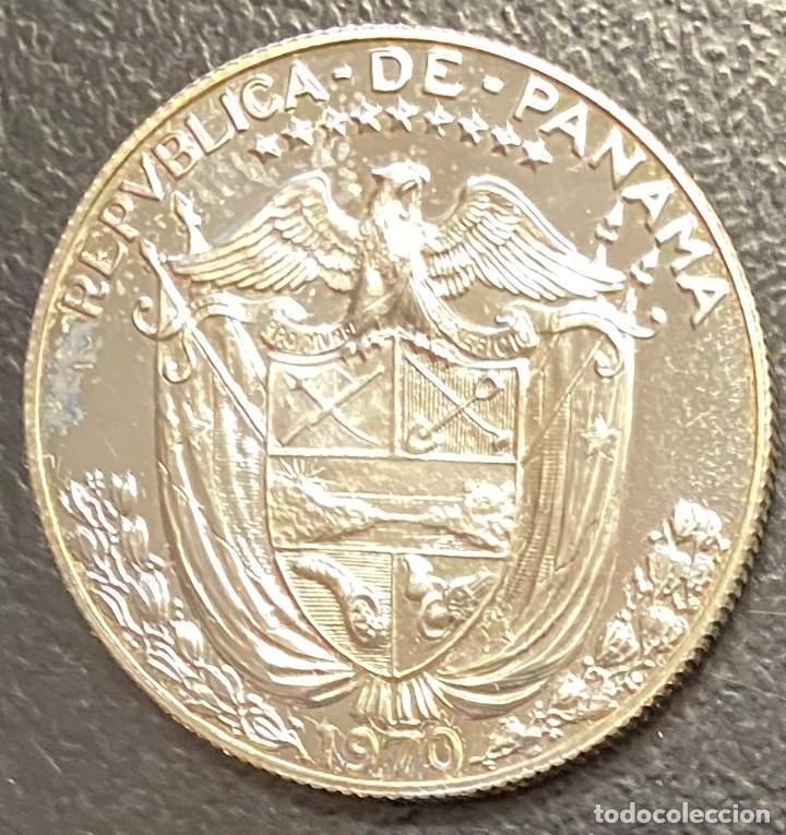 Monedas antiguas de América: PANAMÁ, MONEDA DE PLATA DE 1/2 BALBOA, AÑO 1970 - Foto 2 - 275486003