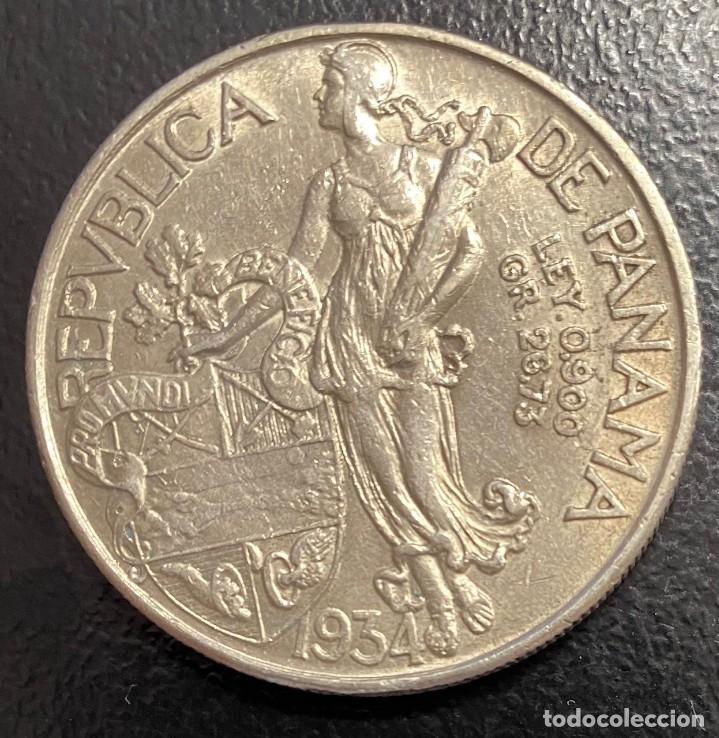Monedas antiguas de América: PANAMÁ, MONEDA DE PLATA DE 1 BALBOA, DEL AÑO 1934 - Foto 2 - 275497668