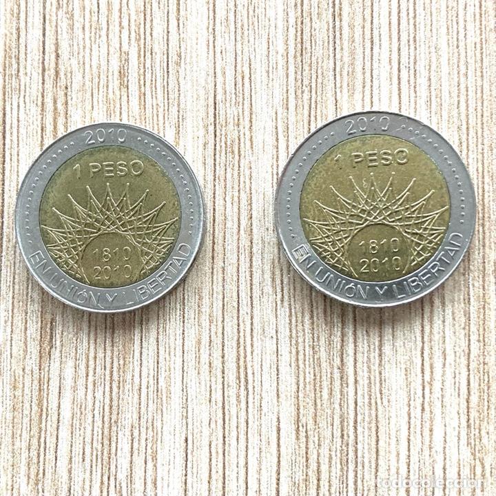 Monedas antiguas de América: Lote 2 monedas Argentina 1 peso 2010 conmemorativa - Foto 2 - 275595108