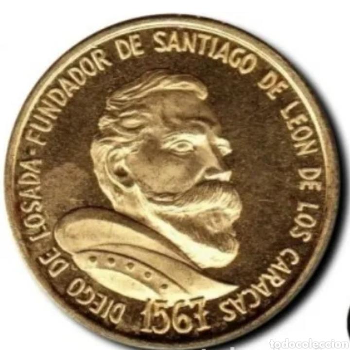 ORO. PESA 6,10 GRAMOS. MONEDA CONMERATIVA DEL CUATRICENTENARIO DE LA CIUDAD DE CARACAS. (Numismática - Extranjeras - América)