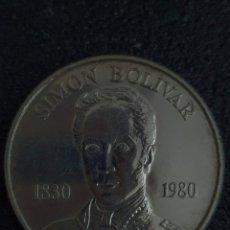 Monedas antiguas de América: MONEDA CONMERATIVA DE LOS 100 AÑOS DE LA MUERTE DE BOLIVAR. PLATA. PESA 22 GRAMOS. Lote 276217468