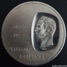 Monedas antiguas de América: MONEDA CONMERATIVA DE LOS 100 AÑOS DE LA EFIGIE DE BOLIVAR EN LA MONEDA. PLATA. PESA 30 GRAMOS.. Lote 276218888