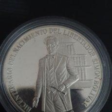 Monedas antiguas de América: MONEDA CONMERATIVA DEL BICENTENARIO DEL NACIMIENTO DE SIMON BOLÍVAR. 1ONZA. PLATA. PESA 31,10 GRAMOS. Lote 276221393