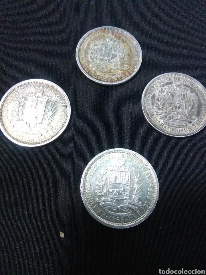 Monedas antiguas de América: Lote de 4 monedas de plata republica de venezuela ,un bolivar - Foto 4 - 277296198