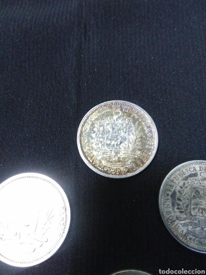 Monedas antiguas de América: Lote de 4 monedas de plata republica de venezuela ,un bolivar - Foto 5 - 277296198