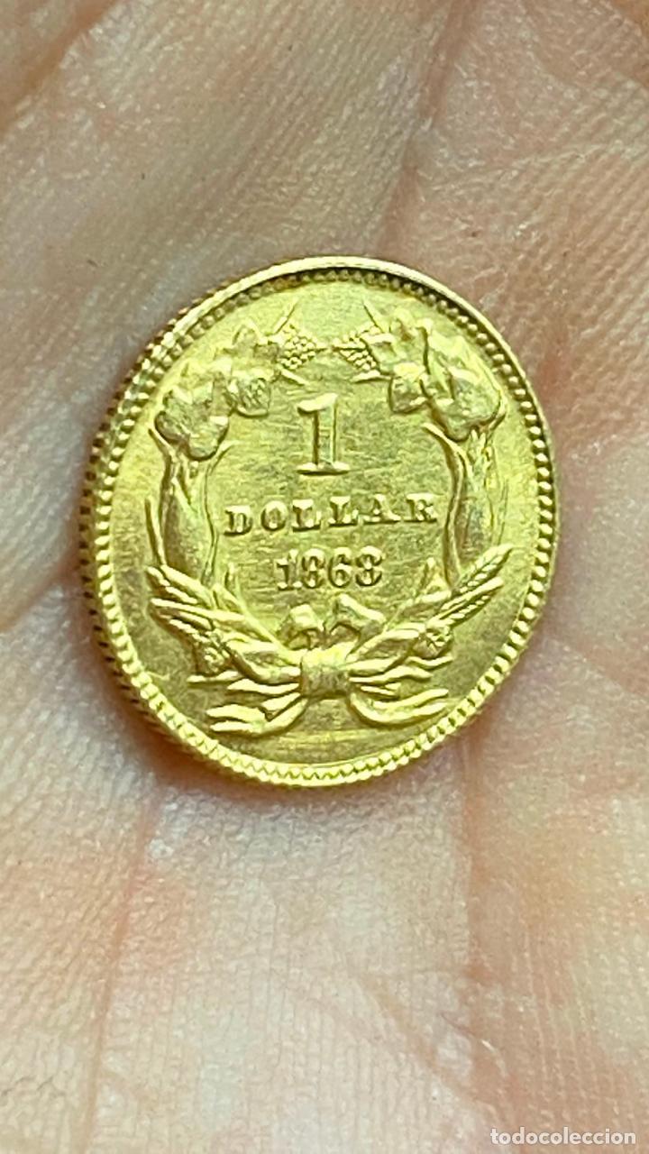 Monedas antiguas de América: Moneda de oro 1 dollar 1868 - original en muy buen estado - un dolar - Foto 5 - 278296368