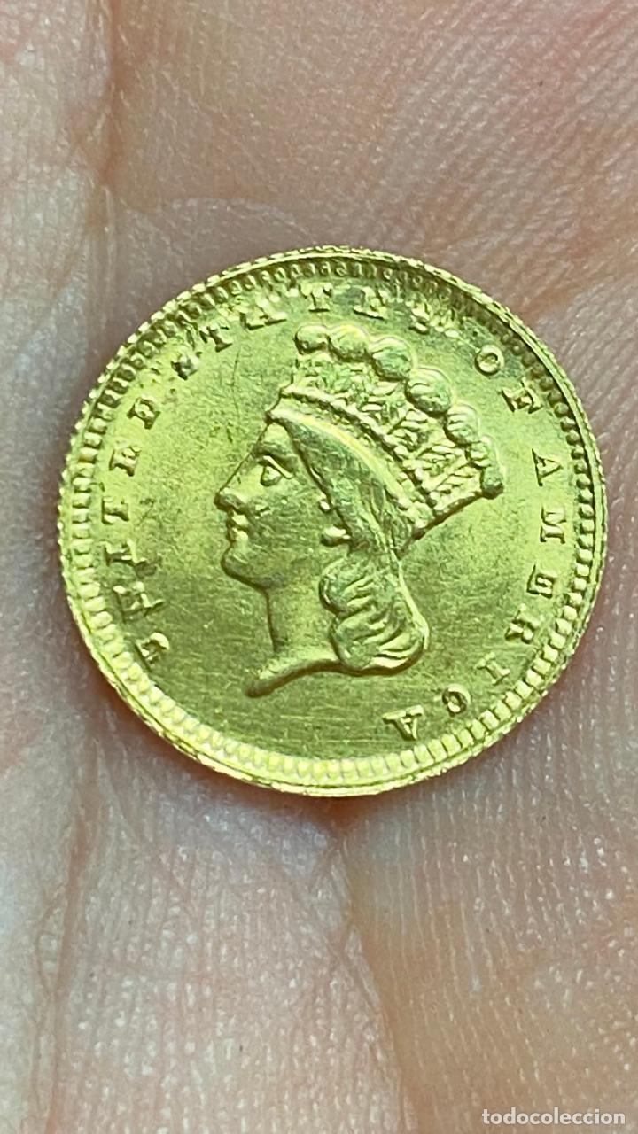 Monedas antiguas de América: Moneda de oro 1 dollar 1868 - original en muy buen estado - un dolar - Foto 8 - 278296368