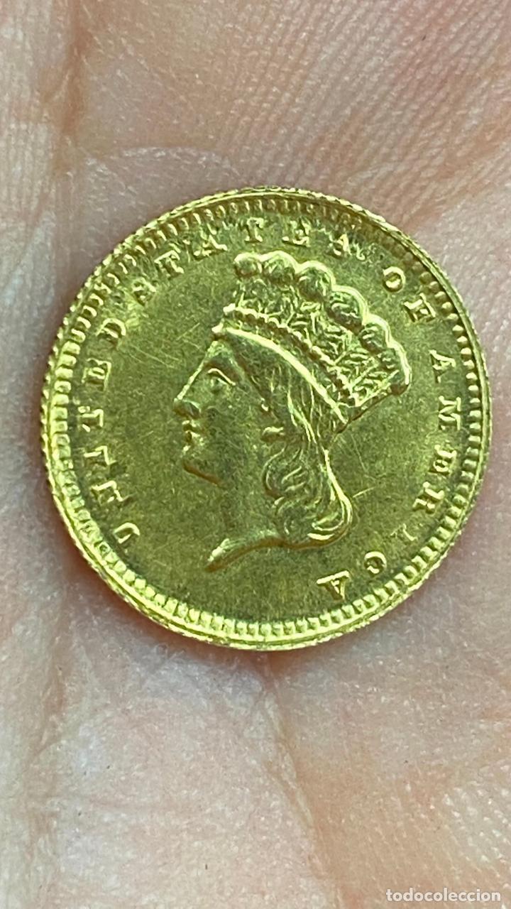 Monedas antiguas de América: Moneda de oro 1 dollar 1868 - original en muy buen estado - un dolar - Foto 9 - 278296368