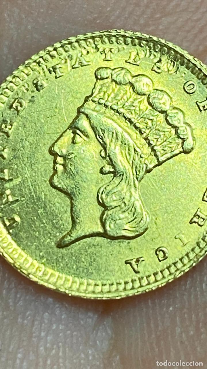 Monedas antiguas de América: Moneda de oro 1 dollar 1868 - original en muy buen estado - un dolar - Foto 11 - 278296368