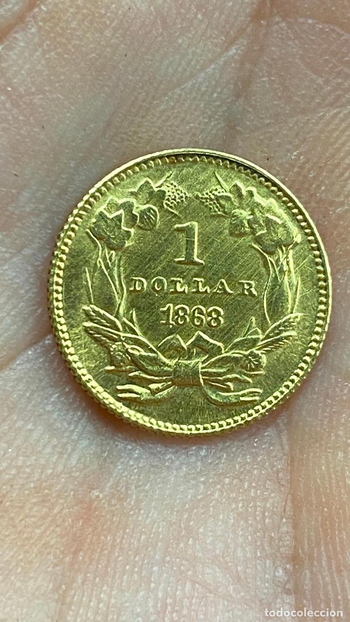 Monedas antiguas de América: Moneda de oro 1 dollar 1868 - original en muy buen estado - un dolar - Foto 3 - 278296368