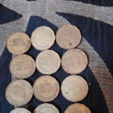 Monedas antiguas de América: 12 MONEDAS DE 50 CENTAVOS DE MÉXICO. Lote 279409483