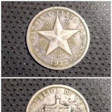 Monedas antiguas de América: 20 CENTAVOS DE 1932 CUBA. PIEZA DE PLATA MUY ESCASA EN CONDICIÓN MUY BUENA. Lote 280129833