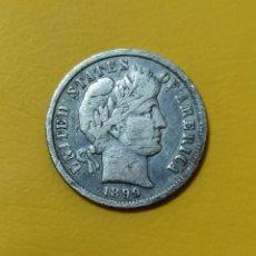 Monedas antiguas de América: ONE BARBER DIME 1898 USA. Lote 280129853