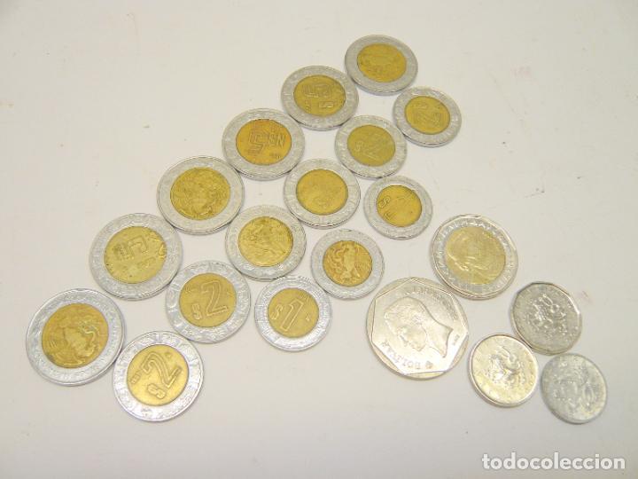 LOTE MONEDAS MEXICO 1, 2 Y 5 $ + OTRAS MONEDAS ...... TOTAL 20 (Numismática - Extranjeras - América)