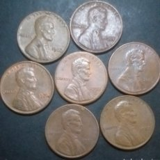 Monedas antiguas de América: LOTE DE 7 MONEDAS ONE CENT ESTADOS UNIDOS DE AMÉRICA DISTINTAS FECHAS. Lote 287166973