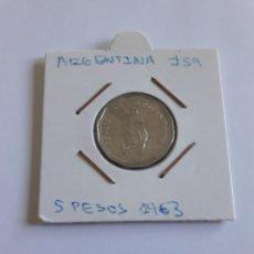 Monedas antiguas de América: ARGENTINA 5 PESOS 1963 KM#59 BONITA. Lote 288547418