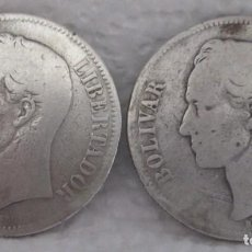 Monedas antiguas de América: VENEZUELA, DOS MONEDAS DE 5 BOLÍVARES DE 1886 EN PLATA LEY 900. Lote 290413133