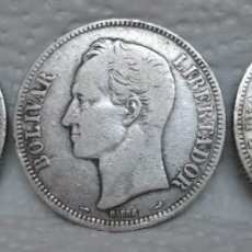 Monedas antiguas de América: VENEZUELA, 3 MONEDAS DE 5 BOLÍVARES DE 1910, 1911 Y 1912 EN PLATA LEY 900. Lote 290452268