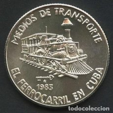 Monedas antiguas de América: CUBA, MONEDA DE PLATA, FERROCARRIL EN CUBA, VALOR: 5 PESOS, 1983. Lote 291596663