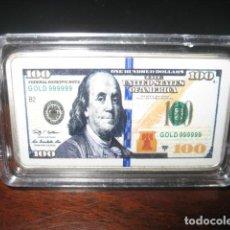 Monedas antiguas de América: 100 DOLARES LINGOTE PLATA LAMINADA. Lote 292322873
