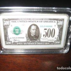 Monedas antiguas de América: 500 DOLARES LINGOTE PLATA LAMINADA. Lote 292323078