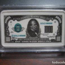 Monedas antiguas de América: 1000 DOLARES LINGOTE PLATA LAMINADA. Lote 292323293