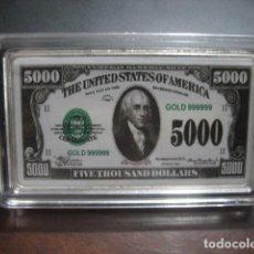 Monedas antiguas de América: 5000 DOLARES LINGOTE PLATA LAMINADA. Lote 292323443