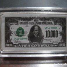Monedas antiguas de América: 10.000 DOLARES LINGOTE PLATA LAMINADA. Lote 292323603